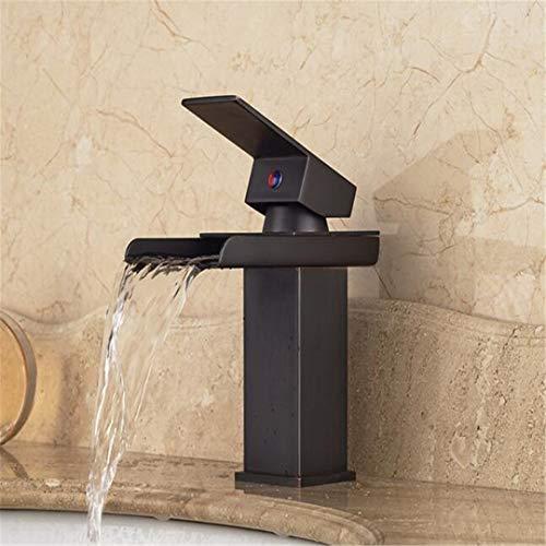 Rubinetto bagno lavabo rubinetto per cucina il miscelatore monocomando a cascata per lavabo rubinetto per lavabo miscelatore quadrato in ottone, bronzo lucidato a olio