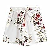 Amcool Damen Sommer Strandshorts Kurze Hosen Elegant Blumen Hotpants mit Gürtel Loose Fit Shorts für Frauen Mädchen (Weiß, M)