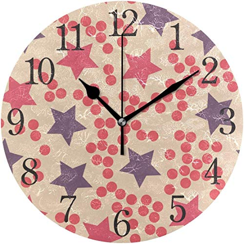 HAYDE Wall Clock Star Dot Silent Non Ticking Operated Round Easy to Read Home Office School Clock