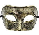 Flywife Uomini Mascherata Mascherare Antique Retro Romano Greco Festa Mardi Gras Halloween Maschera (Antique Oro)