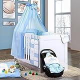 5-tlg. Babybettset Kleiner Prinz oder Kleine Prinzessin in Blau, Rosa oder Cream, Farbe:Blau, Motiv:Kleiner Prinz