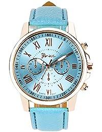 Bestow Reloj de Mujer con Tres Ojos Geneva Geneva Numerals Geneva Reloj de Cuarzo Anal¨