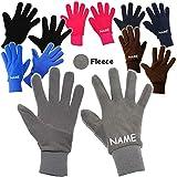 Unbekannt Fleece Fingerhandschuhe _ sehr weich -  dunkel blau  - Größe: 9 bis 10 Jahre - incl. Name - LEICHT anzuziehen ! - mit extra Langen Bündchen Kinder & Babyhan..