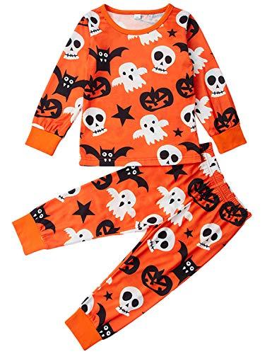 AIDEAONE Kinder Pyjamas Mädchen Langarm Halloween 2 Stück Nachtwäsche Outfits Kleidung (4-5 Jahre)