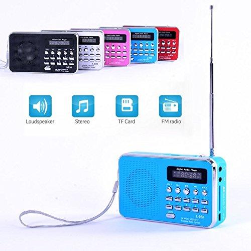 iMinker Mini-Digital-beweglicher FM Radio-Mittel-Lautsprecher MP3-Musik-Spieler TF / SD Karte Usb-Scheiben-Hafen für PC iPod-Telefon mit LED-Anzeige und Akku (Blau) - 2