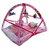 CuteBabyLove Baby Cotton Bedding Set with Mosquito Net, Play Gym and Hanging Toys