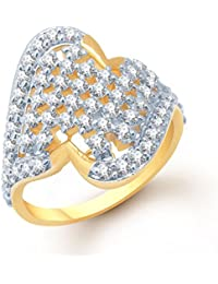 Meenaz Fancy Party Wear Ring Traditional Gold Ring For Girls & Women In American Diamond Cubic Zirconia Ring FR140