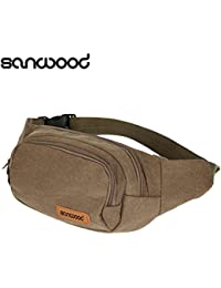 Buyworld 2016 New Arrival Canvas Three Zipper Pockets Fanny Pack Chest Waist Bag With Cell Phone Pouch