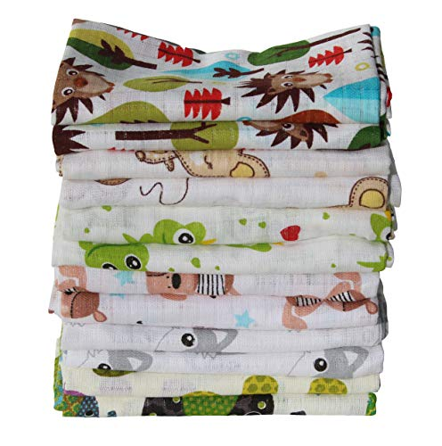 Clevere Kids Mulltücher Set 12 Stück Mix Jungen oder Mädchen Öko-Tex zertifiziert doppelt gewebt (Set Unisex bedruckt)