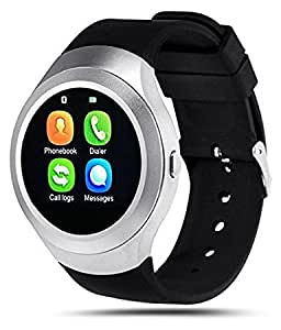 Smart Watch / V8 Smart Wrist Watch / Smart Calling Watch with Sim / Memory Card Slot & Functions like Bluetooth Dial / Synchronized Call Logs / Pedometer / Sleep Reminder / Anti Lost_(Silver) Compatible For Sony Xperia E4g… By Jiyanshi