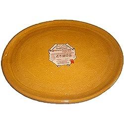 Alfarería Pereruela Siglo XVI APPLOVA35 - Plato ovalado de barro refractario auténtico , 35 cm