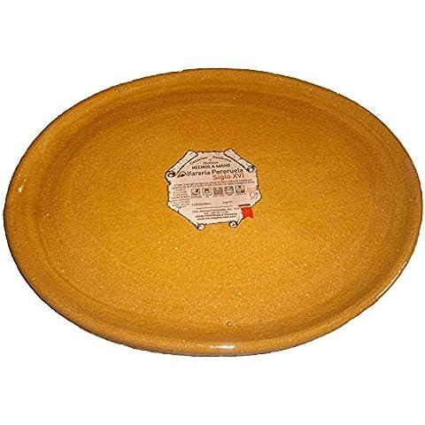 Alfarería Pereruela Siglo XVI APPLOVA40 - Plato ovalado de barro refractario auténtico , 40 cm