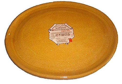 Alfarería Pereruela Siglo XVI APPLOVA40 - Plato ovalado de barro refractario auténtico, 40 cm