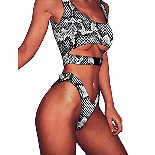Kostüm Sexy Ups - Ducomi Amy Zweiteiliger Damen Badeanzug - Bikini Gepolsterter BH Push Up und High Waist Brazilian - Sexy Beach Bikini Badeanzüge für die Sommermode (Snake, S)