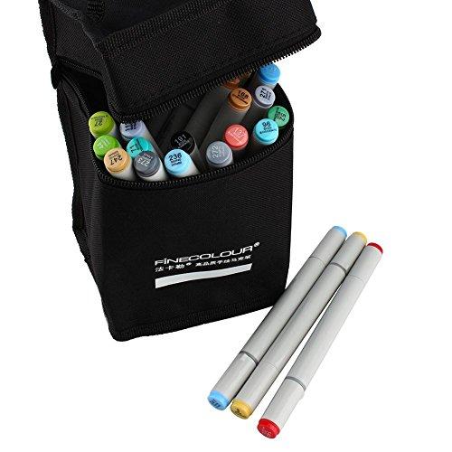 Assortiment de 24 feutres double pointe avec sac de rangement noir