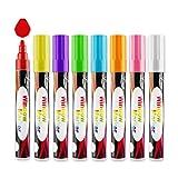 QQPOW  Window marker marcadores de tiza líquida Colourful Art, ideal para los dibujos de los niños para oficina Liquid chalk window markers Marcador de ventana Pluma de vidrio Marcador borrable 8PCS