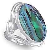 silbernen Ring Solid-Frauen-Schmuck-Schöpfer-ethnische Art abalone perlmutter und Sterling Silber stilisierten Ring