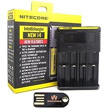 Nitecore Nueva i4 (2016 versión) Cargador de batería inteligente inteligente cargador universal para Li-ion / IMR / Ni-MH / Ni-Cd 26650 22650 18650 18490 18350 17670 17500 17335 16340 RCR123 14500 10440 AA AAA tipos AAAA C D con WINGONEER luz LED USB