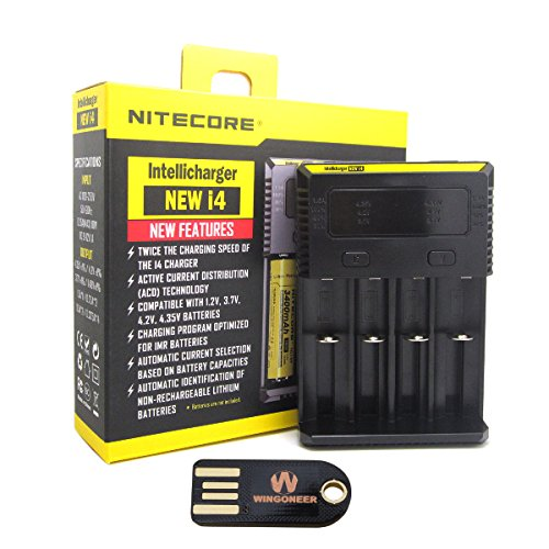 Nitecore New i4 (2016 Version) Intelligent Charger Universal Smart-Ladegerät mit WINGONEER USB-LED-Licht
