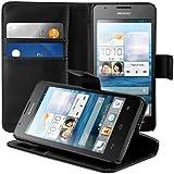 kwmobile Wallet Case Hülle für Huawei Ascend G520 / G525 - Cover Flip Tasche mit Kartenfach und Ständerfunktion in Schwarz
