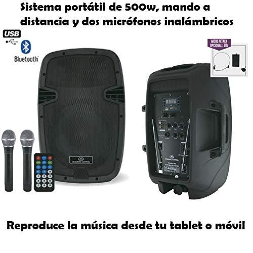 EQUIPO DE SONIDO PORTATIL A BATERIAS ACOUSTIC CONTROL COMBO 12 500W USB/SD/BT/2xMIC...
