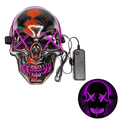 Purge Mask Kaltlicht Maske LED Horror Party Maske Leuchtende Masken Party Kostüm Scary Cosplay Kreativen Stil Creepy Killer Kostüm Dekoration