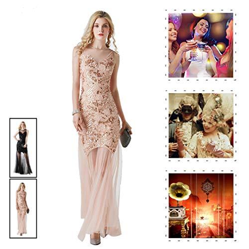 YIXIJIE Damen Mesh Flapper Kleid, Pailletten langes Kleid, Vintage Abendkleid für Gatsby Party/Party Prom/Kostüm,Rosa,M
