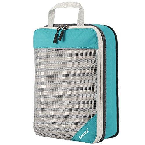 Gonex Kleidertaschen 3er Set verschiedene Forme ,3-teilig Verpackungswürfel, Kleidertaschen Set, Kofferorganizer Reise Würfel packing cubes 3er set Blau(luftige Form 2)