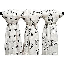 finalhome 3Pack bebé muselina bebé Swaddle Wrap mantas, 120x 120cm Orgánica Muselina de Algodón Manta De Recepción para Unisex ducha regalo