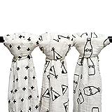 Qav Juh 3 Pack Musselin Baby Wickeldecke Wrap Decken, 120 x 120 cm Bio Baumwolle Musselin Receiving Decke für Unisex Dusche Geschenk (Kreuz & Tipi & Milchflasche)