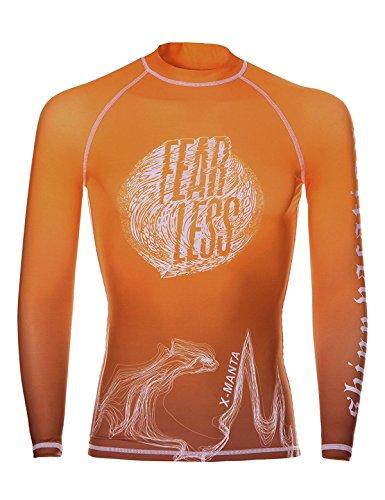 DIVE & SAIL Herren Rash Guard Tops Scuba Surf Tauchen Schnorcheln Langarm T-Shirt Bademode (Orange, Large) (Kundenspezifische Sport-ärmeln)