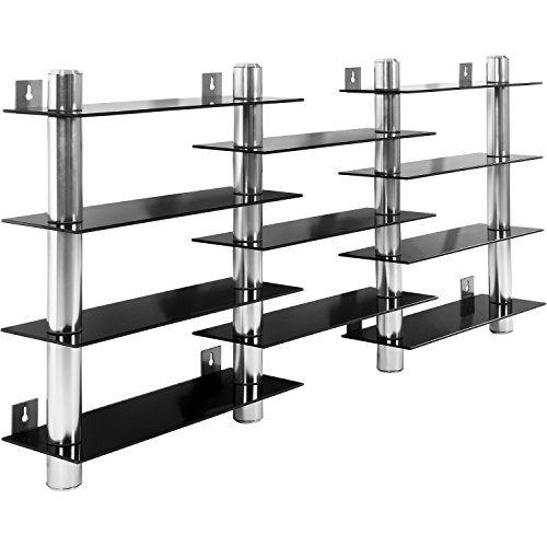 STILISTA® CD DVD Wandregal, Schwarzglas-Optik, Aluminium Tubes, Höhe 60 cm, für 300 CDs, Rack Regal Glas