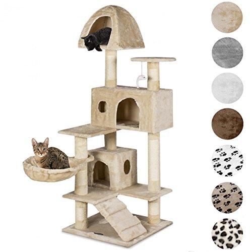 *Happypet® Kratzbaum für Katzen 143 cm hoch dicke Säulen mit Sisal ca. 8,0 cm Höhle Liegemulde Spielmaus Beige*
