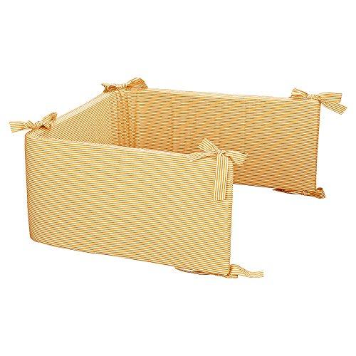 Öko-kern (Sugarapple Nestchen & Bettumrandung in Streifen gelb mit stabilem Schaumstoffkern und abnehmbarem Bezug, Länge 200 cm für für Betten 120 x 60 cm, 100% Baumwolle, Oeko Tex 100, Made in Germany)