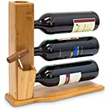 Relaxdays - Soporte para botellas de vino, para 3 botellas, 32 x 34 x 12 cm, 1.1Kg, Bambú