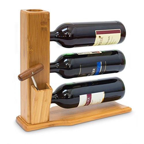 Relaxdays Weinständer für 3 Flaschen H x B x T: 32 x 12 x 34 cm Weinregal zum Hinstellen aus Bambus kleines Flaschenregal mit Platz für Korken und Öffner Flaschenhalter Weinflaschenablage Holz, natur