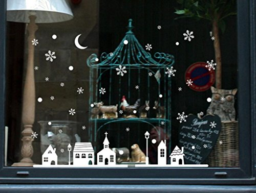 Amlaiworld Decorazione della finestra del negozio di Natale Città di fiocchi di neve Adesivi murali