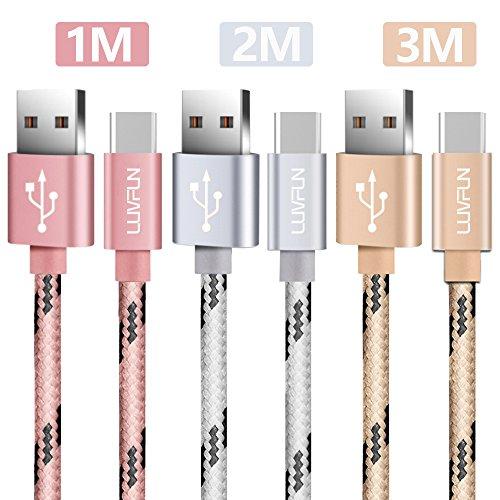 Luvfun [3-Unidades Cable Tipo C, 1m+2m+3m Cable USB Tipo C (Oro Rosa+Plata+Oro)