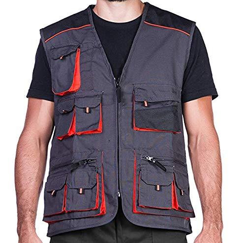 Arbeitsweste mit zehn großen Taschen, Montageweste, herren, 280g. Perfekt geeignet für Techniker und Bauarbeiter,Schwarz und Orange, 58