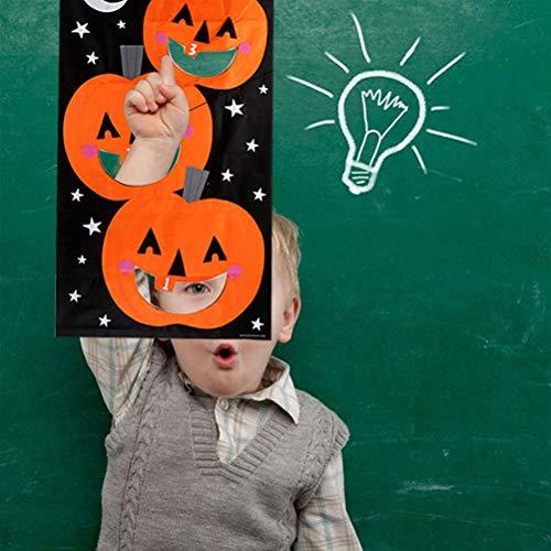 NUOBESTY Beanbags Spielzeug Nylon Spiel Spiel Sitzsäcke Kinder Spiel Kinder Spiel Werfen Taschen Halloween Party Dekorationen (Kürbis Banner * 1 + Sandsack * 3)