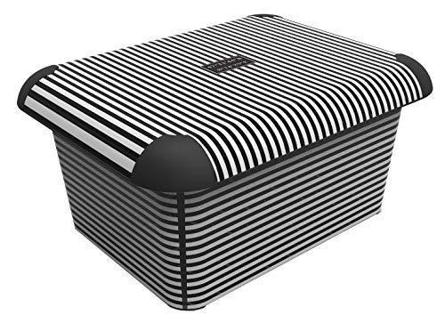 """Rotho Creative Aufbewahrungskiste mit Deckel, Kunststoff (PP), schwarz/weiss mit Motiv \""""Stripes\"""", 15 Liter (40,5 x 31,7 x 19,5 cm)"""