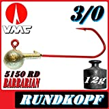 VMC Jigkopfhaken Jigkopf Rund 3/0 12g Jighaken 5 Stück im Set mit VMC Barbarian 5150 RD Haken