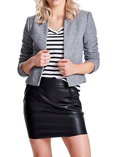 Only Damen Blazer Anzugjacke Business Jacke (38, Light Grey Melange)