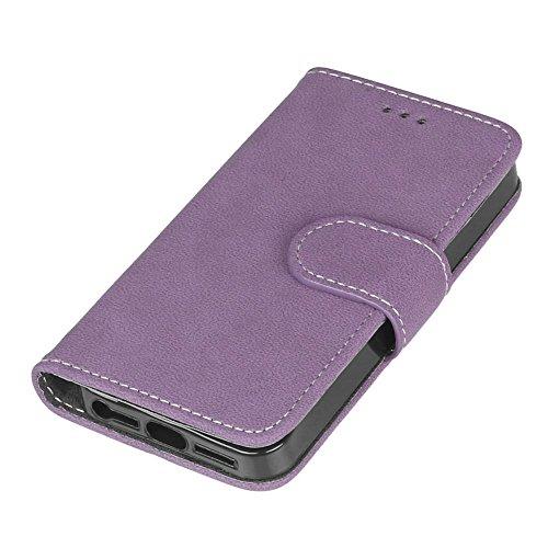 FUBAODA étui Folio en cuir pour Apple iPhone 5 / 5S / 5SE, [Skin-friendly][Suède][Givré] Cover Coque TPU Porte cartes avec Support Protection intégrale pour Apple iPhone 5 / 5S / 5SE (noir) Violet