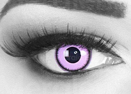 Farbige rosa Crazy Fun Kontaktlinsen Purple Lunatic mit gratis Linsenbehälter + 60ml Pflegemittel, Topqualität zu Fasching, Karneval und (Lunatic Kostüm)