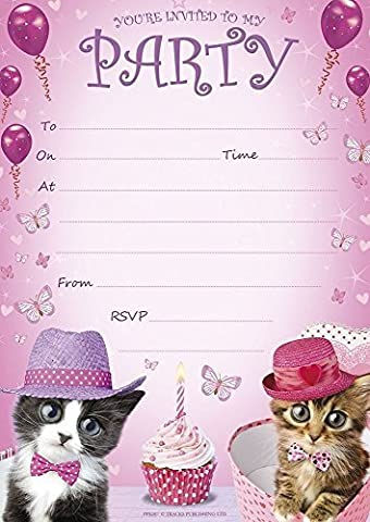 BIrthday Party Invitations A5 Size Pink Kittens Cupcakes - Pack 20