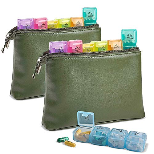 Weekly Travel Pill Organizer - Pack of 2 7-Day Per Week Wallet Organizer Pouch - Daily AM PM 4 Times a Day Pill Boxes, Vitamins and Medication with Individual Pill Container Dispenser Case by MEDca - Pill Box Drug