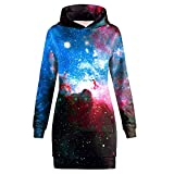 AMOMA Damen Bodycon 3D Digitaldruck Langarm Sweatshirt Hooded Mini Kleider Mit Taschen(Small,Galaxy)
