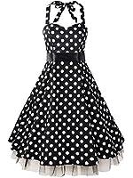Luouse Damen Kleid Neckholder 50er Blumen Schaukel Pinup Rockabilly Vintage Kleid