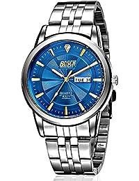 Bosck Blue Dial Day Date Waterproof Men's Watch